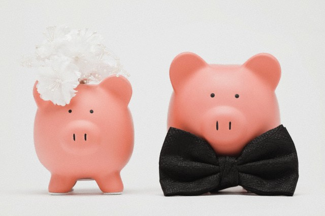 Metamora, Illinois, USA --- Studio shot of piggy banks dressed up as bride and groom --- Image by © Greg Vote/Tetra Images/Corbis